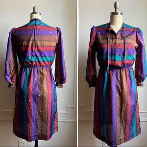 Vintage Stripe Multi Color Petite Dress